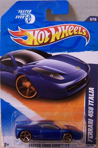 2011 HOT WHEELS FASTER THAN EVER '11 6/10 BLUE FERRARI 458 ITALIA 146/244 (Spider 360 Modena Ferrari)