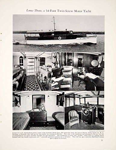54' Wall (1928 Print Lorna Doone 54ft Twin Screw Yacht Boat Ship Interior Furniture YYM1 - Original Halftone Print)