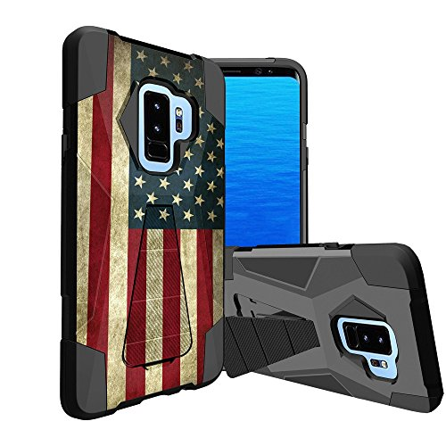 MINITURTLE Hybrid Case Compatible w/Samsung Galaxy S9 Plus Durable Armor with Protective and Resilient Shock Absorption and High Impact Hard Shell w/Kickstand Design - American Flag USA