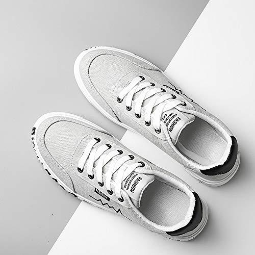 Scarpe da Nuovo Uomo Scarpe Stile Scarpe e up Donne Traspirante Scarpe Sneakers Lace Tela Uomo Grigio Stivaletti di Basse BYSTE Confortevole Moda 5wzTqXExn