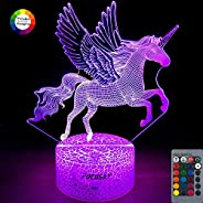 Unicorn Night Light for Kids,Dimmable LED Nightlight Bedside Lamp,16 Colors+7 Colors Changing,Touch&Remote