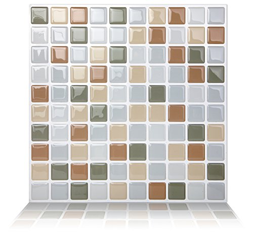 Tic Tac Tiles Anti-Mold Peel and Stick Wall Tiles in Mosaic Beigegrey 10 Tiles