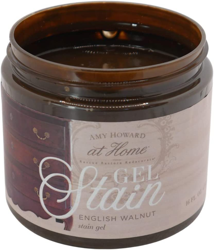 Gel Stain | English Walnut | Thick Water Based Gel Stain for Wood | 16 oz | Acts as Wood Stain and Glaze | Amy Howard Home