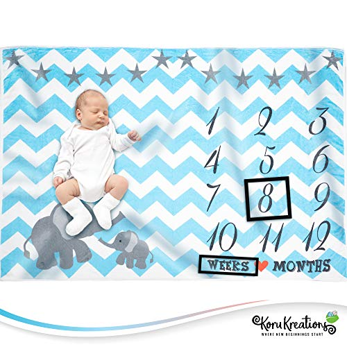 Baby Monthly Milestone Blanket for Boys | Perfect Newborn Gifts | 100% Quality Soft Fleece Baby Blanket | Large Personalized Elephant Background Newborn Photography Props | (Blue)