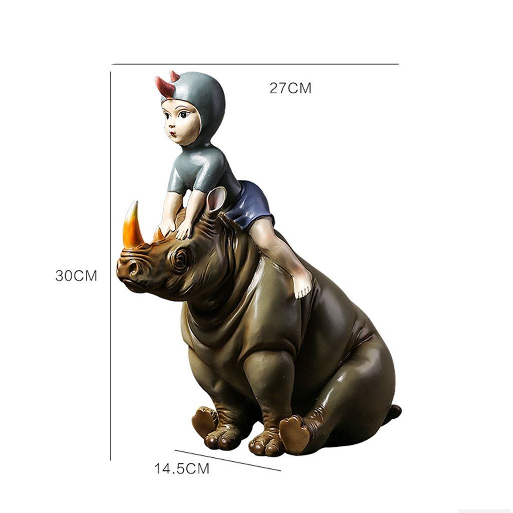 Ornaments for Home- Mori One-Horned Rhinoceros Girl Decorations Creative Home Living Room Art Decoration Girlfriends Gift 3027