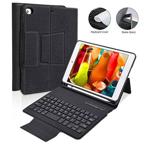 iPad Mini 5 / Mini 4 Keyboard Case - Smart Stable Stand Protect Case Leather Cover with Detachable Wireless Bluetooth Keyboard for iPad Mini 5th Gen 2019 / iPad Mini 4 2015 [Auto Sleep/Wake Function]