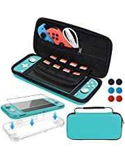 Accessories Kit for Nintendo Switch Lite, Carrying Case with Screen Protector and TPU Protective Cover Case for Nintendo Switch Lite, Turquoise