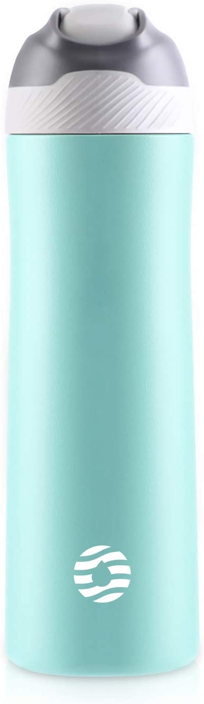 FJbottle Sports Water Bottles with Straw, 20 oz Double Wall Vacuum Insulated Stainless Steel Bottle Keeps Hot and Cold, With Cleaning Brush, Perfect Gifts for Girl and Lady