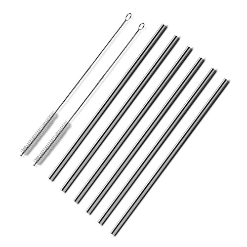 Sungrace Reusable Metal Stainless Steel Wide Smoothie Drinking Straws Set with Cleaning Brush(6 Pack, Straight)