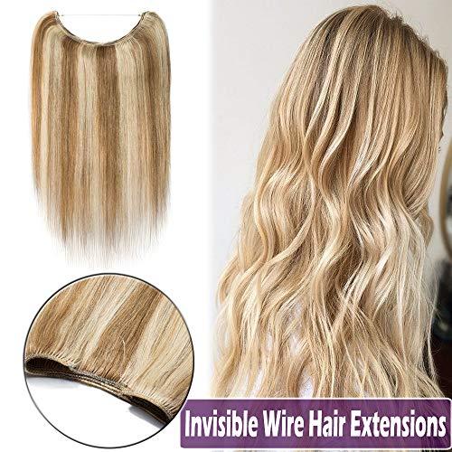 """16""""-22"""" Human Hair Hidden Wire Extensions Highlight Secret Fish Line"""
