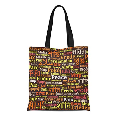 Semtomn Cotton Canvas Tote Bag Punjabi Words Peace in Different Languages of the World Reusable Shoulder Grocery Shopping Bags Handbag Printed