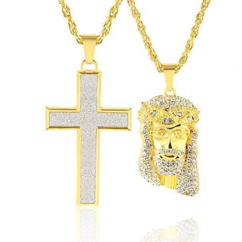 HZMAN Mens 14k Gold 2 Piece Iced Jesus & Cross Set Pendant Hip Hop Necklace 24
