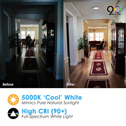 5/6'' Inch LED Slim Cusp Disk Light with 4'' J-box AC Technology (20 Pack) 15W; 120V; CRI>90; Beam Spread 120; 1,000 Lumens; Dimmable; Energy Star and Intertek Listed; (Day Light 5000K) by Quest (Image #5)