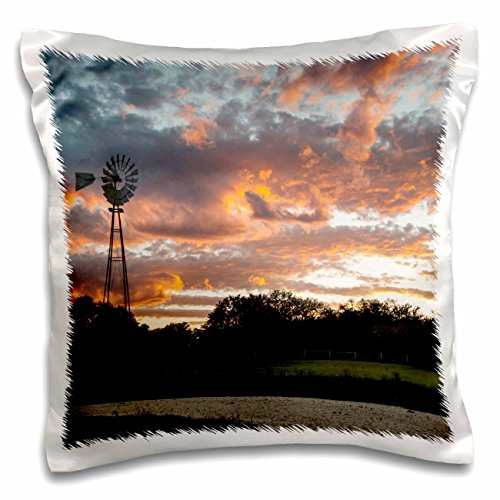 3dRose Danita Delimont - Sunsets - Clouds and windmill at sunset - 16x16 inch Pillow Case - County The Orange Block At