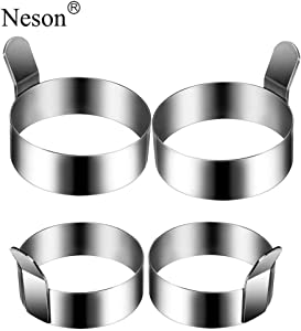 Egg Ring, 4 Pack Stainless Steel Omelet Mold Cooking Non Stick Pancake Ring Metal Kitchen Cooking Tool