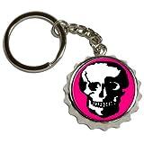 Skull Skeleton - Nickel Plated Metal Popcap Bottle Opener Keychain Key Ring