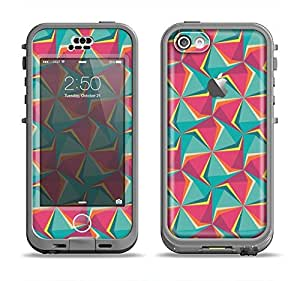 The Abstract Opened Green & Pink Cubes Apple iPhone 5C LifeProof Nuud Black Case and Skin Set (Black LifeProof Case Included!)