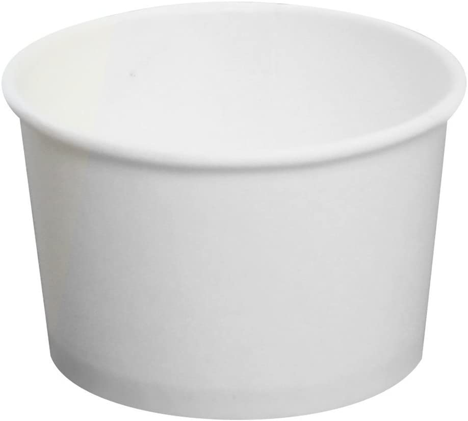 Karat CKDP4W, 4-Ounce White Paper Cold and Hot Food Container with Plastic Flat Lid, Dessert Ice-Cream Yogurt Soup Containers with Matching Covers (100)