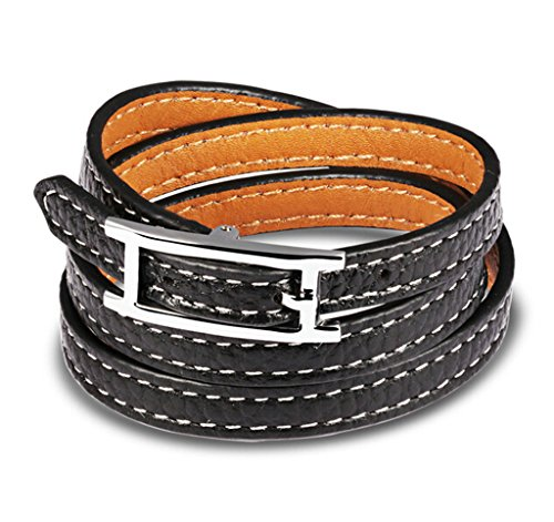 Epinki Stainless Steel Mens Bracelet Leather Wrap With Belt Buckle Black 18X0.8CM