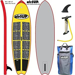 """airSUP 9'6""""x30""""x4"""" Inflatable SUP 15psi Stand Up Paddleboard, Roll It up and Store in the Bag! Yellow from airSUP"""