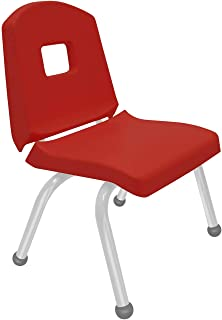 """product image for Creative Colors 1-Pack 12"""" Kids Preschool Stackable Split Bucket Chair in Red with Platinum Silver Frame and Ball Glide"""