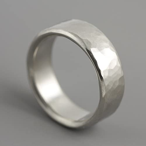 Amazoncom Mans Dune Wedding Band Hammered Palladium Ring Handmade