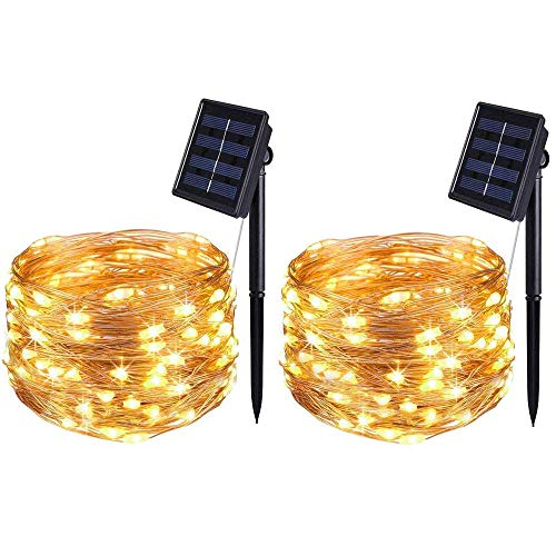 BOLWEO 2 Pack Solar Powered String Lights,Solar Fairy Lights,Warm White,16.4Ft 50LEDS,Waterproof Wire Lighting for Indoor Outdoor Christmas Tree Halloween Home Garden Decoration(Warm White)
