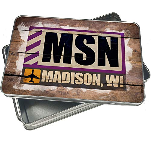 NEONBLOND Cookie Box Airportcode MSN Madison, WI Christmas Metal Container -