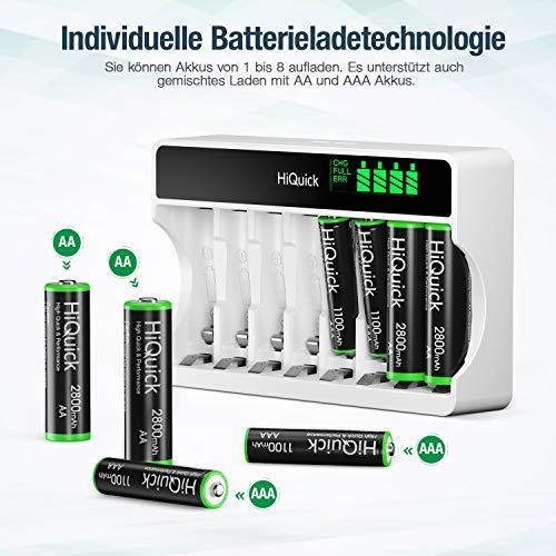 HiQuick Akku Ladegerät mit AAA Akku 8 Stück, für Mignon AA, Micro AAA NI-MH wiederaufladbar Batterien, 8-Ladeplatz mit LED Anzeige