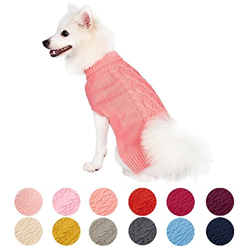 Blueberry Pet Classic Cable Knit Rosy Pink Dog Sweater, Back Length 16