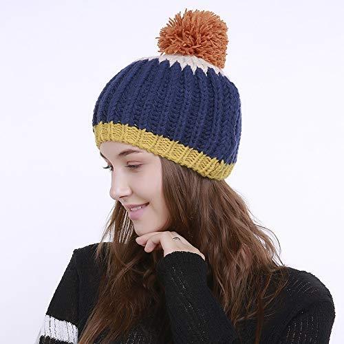 Invierno Adream Amarillo color Gorro De E Punto Costuras Para Azul Tejida Mano Con Otoño Verticales Cálido Lana A Rayas CAvTfnCqw