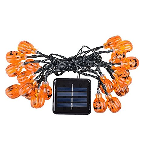 OHSEE 5m 20led/Pack Halloween Jack O Pumpkin Lantern LED String Lights, Indoor/Outdoor Used, Great for Halloween Celebration (Solar Powered)]()