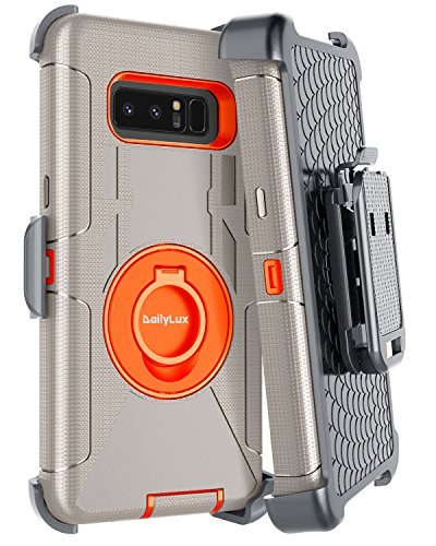 Dailylux Galaxy Note 8 Case,Note 8 Case Belt Clip Heavy Duty Shockproof Swivel Belt Clip Rugged Bumper Hybrid With Kickstand Holster Protective Cover Case for Samsung Galaxy Note 8-Orange+Gray