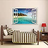 GoldenCart Beach Wallpaper-Like 3D Window Beach Wall Decal I 3D Wall Art I 3D Wall Stickers I 3D-Effect Beach Wall Mural I 3D Sticker for Wall I 3D Wall Decor I 3D Wall Murals I Vinyl (90cm X 60cm)