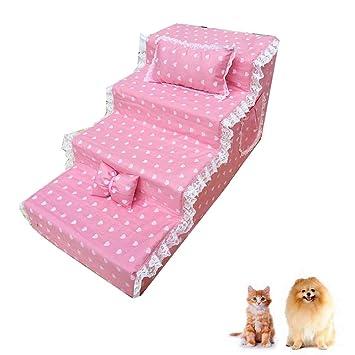 DJLOOKK Escaleras De Mascotas Rampas para Camas Altas, como Escalera De Perro para Camas Altas De Sofá Ideal para Gatos Y Perros Lindos,10,S: Amazon.es: ...