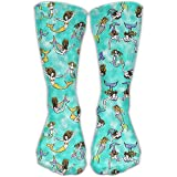 Swimming Mermaids Outdoor Running Long Socks Novelty High Athletic Sock Unisex