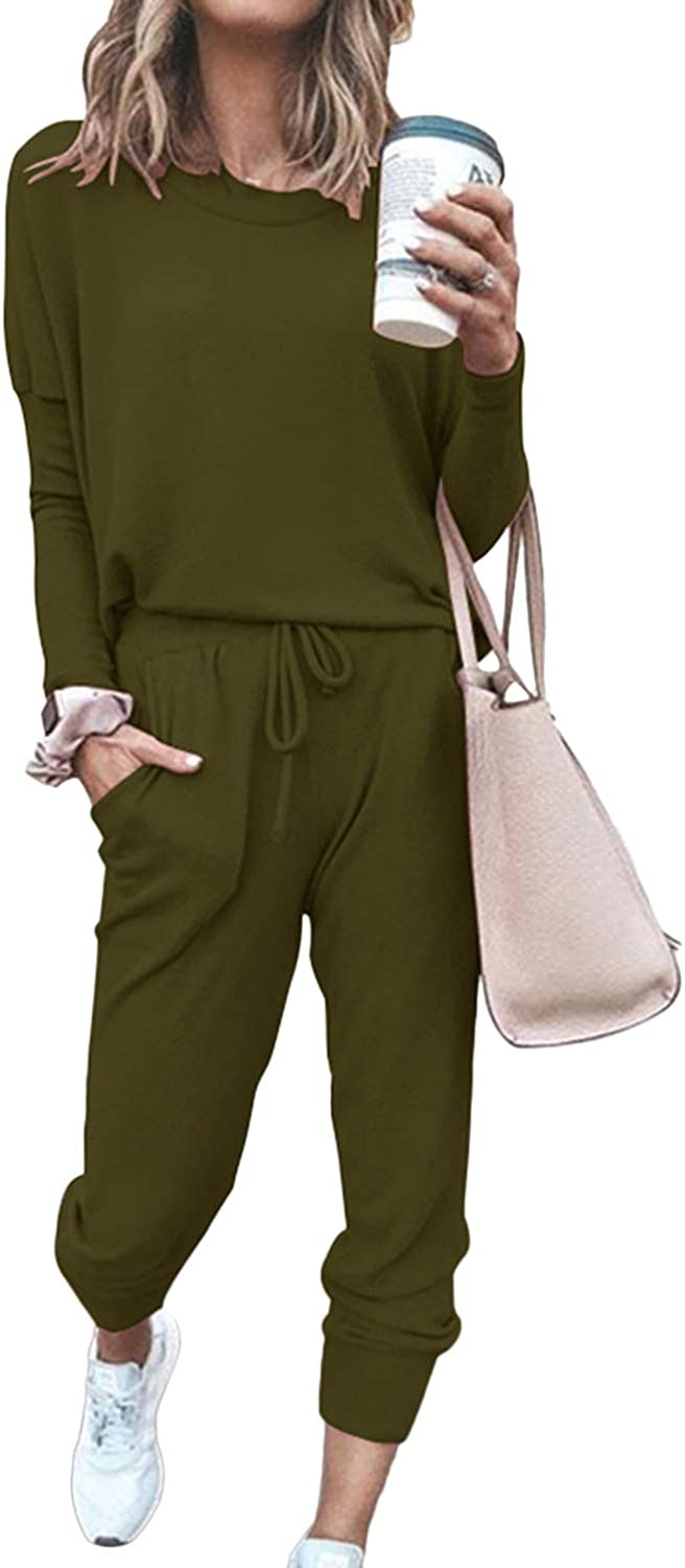 Womens Casual Loose Sweatsuit Outfit Lace Up Crop Top Drawstring Sweatpant 2 Piece Loungewear