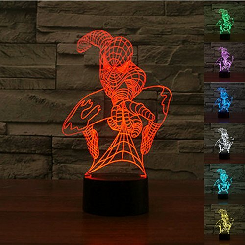 Spider-man+3D+Night+Lamp+ Products : Padaday 3D Spiderman bulbing illusion 100~240v bedroom night multi 7 color changing LED desk table light lamp