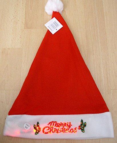 Flashing Light-Up Santa Hat Merry Christmas