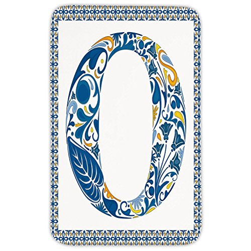 Rectangular Area Rug Mat Rug,Letter O,Blue Capital Letter in Framework Portuguese Tile Art Azulejo Floral Design Decorative,Blue Yellow Orange,Home Decor Mat with Non Slip - Blue Tile Capital Decor