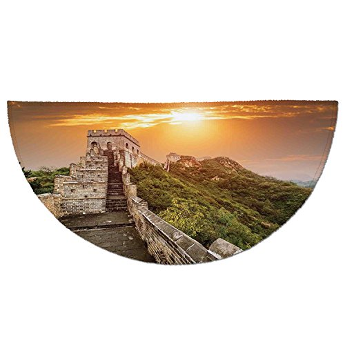 Half Round Door Mat Entrance Rug Floor Mats,Great Wall of China,The Magnificent Heritage of World Background Brick Borders Picture,Orange Green,Garage Entry Carpet Decor for House Patio Grass Water
