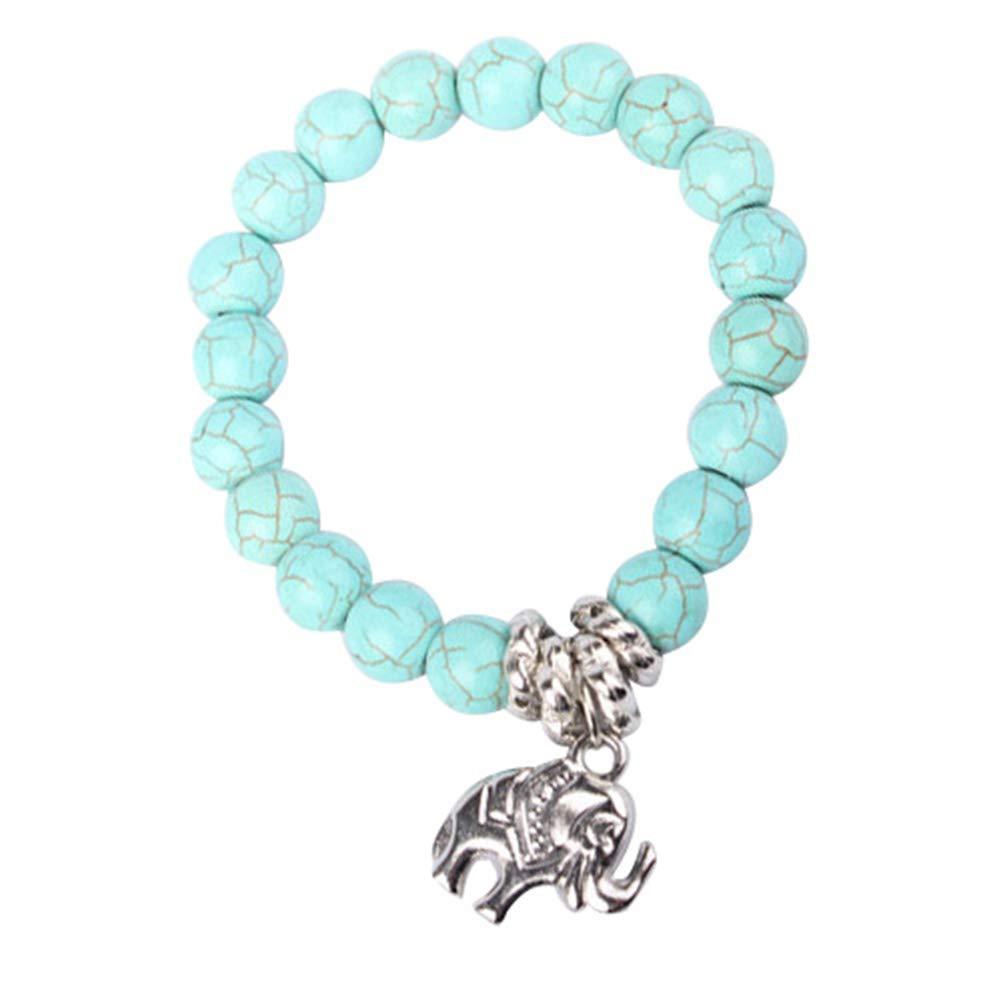 bjlongyi Fashion Bracelet for Women,Natural Turquoise Stone Bead Elephant Style Bangle Charm Jewelry Gift Turquoise
