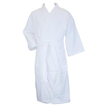 f56a5aa971 Amazon.com  Terrytown Thigh Length Waffle Weave Kimono Robe White  Arts