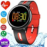 iGeeKid Smart Watch Fitness Tracker with IP67 Waterproof Heart Rate Blood Pressure Sleep Monitor for Men Women Sport Wristbands Pedometer Calorie for Summer Outdoor Running (red)