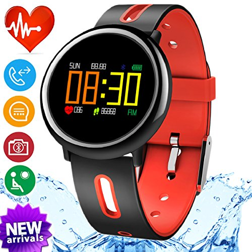 iGeeKid Smart Watch Fitness Tracker with IP67 Waterproof Heart Rate Blood Pressure Sleep Monitor for Men Women Sport Wristbands Pedometer Calorie for Summer Outdoor Running (red) by iGeeKid