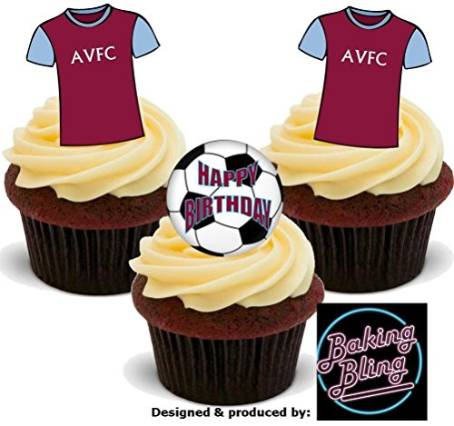 12 x Football Aston Villa Happy Birthday Mix - Fun Novelty Birthday PREMIUM STAND UP Edible Wafer Card Cake Toppers Decoration (Ville Supplies Party)