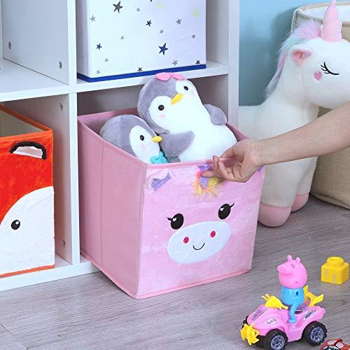 51R8rl0tdSL - (2 Pack) Furianne Foldable Toy Storage Cube Cloth Basket Bins Pink Sequin Fabric Unicorn Animal Cartoon Organizer For Nursery, Playroom, Closet, Shelf, Home