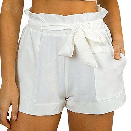 CHN'S Women Summer Chiffon Shorts Bow High Waist Belt Shorts Solid Color (Chiffon Womens Shorts)