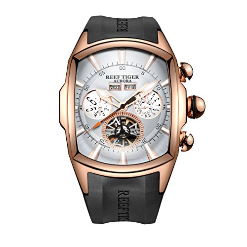 Reef Tiger Sport Watches for Men Rose Gold Tone Tourbillon Wrist Watches Rubber Strap RGA3069 (RGA3069-PWB)