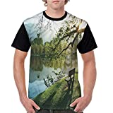 Tops O Neck T Shirts,Nature,Wooden Chair at Serene Lake S-XXL Sleeves for Women